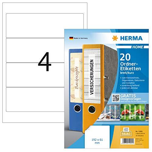 HERMA 12901 Ordnerrücken Etiketten DIN A4 ablösbar, kurz/breit (192 x 61 mm, 5 Blatt, Papier, matt) selbstklebend, bedruckbar, abziehbare und wieder haftende Ordneretiketten, 20 Klebeetiketten, weiß