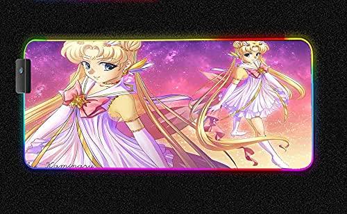 Alfombrillas de ratón Anime Sailor Moon Cute Girl RGB Gaming Alfombrilla de ratón Grande Arco Iris LED retroiluminado Brillante XXL Alfombrilla de ratón de Goma 700x300 MM