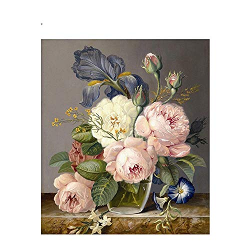GKJRKGVF Blooming Rose Tekenen Door Getallen Bloem Vaas DIY Schilderen Handwerk Op Canvas Olieverfschilderij Kunst Kleurplaten Voor Thuis