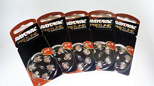 Rayovac Ersatz-Hörgerätebatterie, Größe 312,5Packungen mit je 6 Batterien