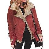 XNBZW Hiver Femmes Manteau Fausse Fourrure Polaire Blousons Chaud Revers Biker Outwear Solid Color Moteur Zipper Veste Rouge L