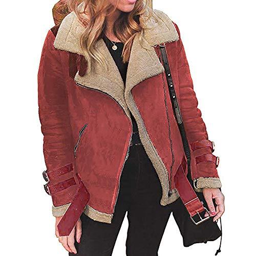Abrigos Mujer Invierno Rebajas Talla Grande K-Youth ✿ Chaqueta Cuero Mujer Moto Abrigos para Mujer Elegantes Solapa Abrigo de Algodón Outwear Parkas de Mujer Cardigan Bolsillos(Rojo, L)
