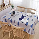DJUX Simple Nordic Style Blue Lattice Christmas elk Pattern Tablecloth Rectangular Waterproof Fabric Oxford Wipeable Water Resistant Tablecloth