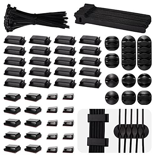 Herefun Kit Sistema de Gestión de Cable, 200 PCS Contiene 40 Clips...