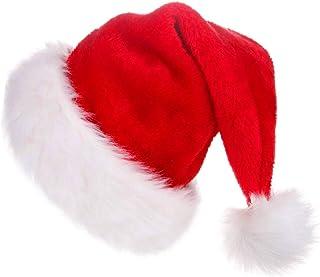 CUSFULL Gorro de Papá Noel de Felpa, Gorro Navideño y Sombrero Rojo de Santa Claus, Gorro de Navidad Suave y Cómodo para Navidad, Talla Única (1Pc)