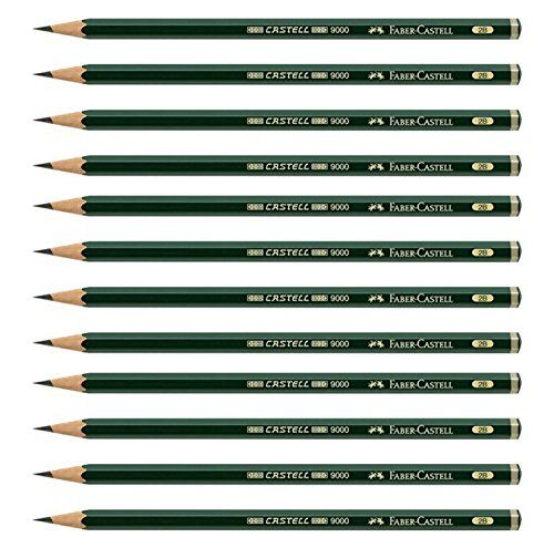 Faber-Castell Pencils, Castell 9000 Graphite art 2B pencils for drawing, sketching - 12 Artist pencils