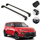 Roof Rack Crossbars Compatible with Kia Soul 2020-2021 | Luggage Kayak Cargo Hard-Shell Carrier | Aluminum Rooftop of Your Car or SUV | Black 2 Pcs.