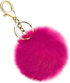 Soft Artificial Rabbit Fur Keychain Plush Ball Key Ring Cute Pom Pom Bag Charm for Women Girls