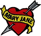 Tattoo Art Heart Arrow Name Embroidered Iron On Applique Patch - Mary Jane