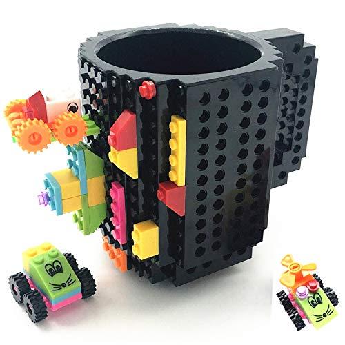 HUISEHNG Build on Brick Tasse, Building Mug Becher, Ostern Vatertag Geburtstag Einschulung Weihnachtengeschenk Idee, Geschenk für Männer Frauen Ihn Kinder Papa Junge, Kompatibel für Lego (Schwarz)