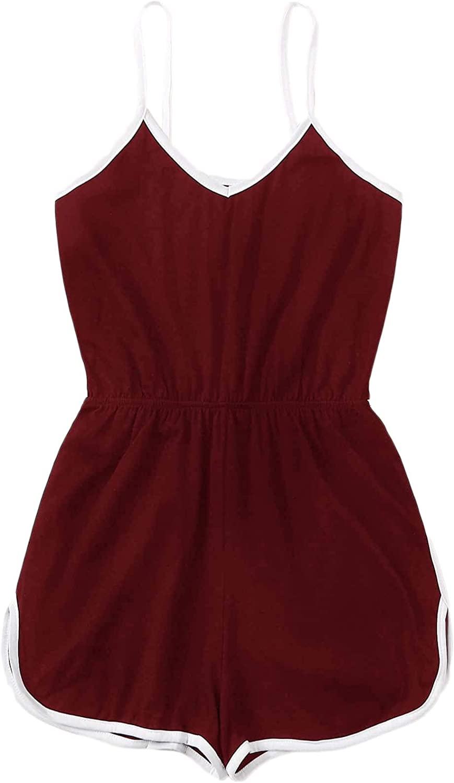 Milumia Women Plus Size Casual Cami Romper Side Striped Elastic Waist Sport Playsuit