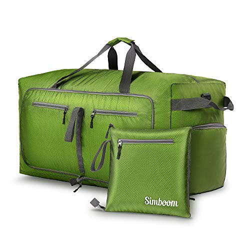 Simboom 100L Foldable Travel Duffel Bag, Water Resistant Lightweight Travel Bag with Shoe Compartment Duffle Bag for Luggage Gym Sport Camping, Green