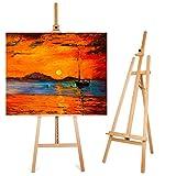 Amzdeal Caballete Pintura Madera de Haya 175 cm - 230 cm Altura Ajustable Estable y Sólida Soporte...