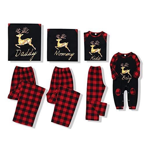 Family Christmas Pjs Matching Sets Holiday Couple Pajamas Cotton Elk Sleepwears Long Sleeve Christmas Jammies Pant Set for Men Plus Size