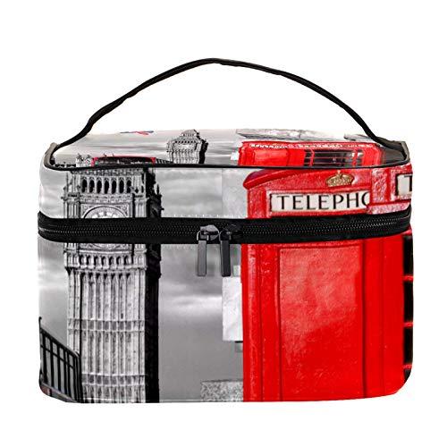 Neceser de Maquillaje Estuche Escolar para Cosméticos Bolsa de Aseo Grande Big Ben Double Decker Bus Teléfono Rojo