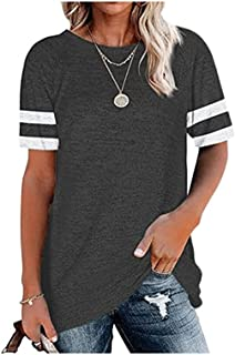 Wanxiaoyyyindx Work Blouses for Women, Summer T-Shirts Women Short Sleeve O-Neck Hearty Loose Casual Tops Plus Sizing Blac...