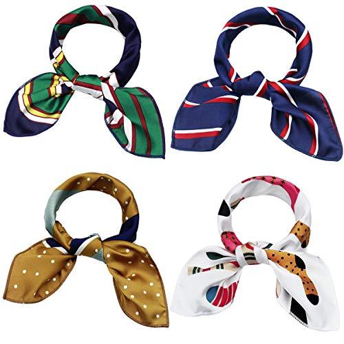 NATUCE 4PCS Bufanda Cuadrada para Mujer 48 * 48CM, Pañuelos cuadrados de seda satinada para el cuello, bufanda, pañuelo para la cabeza, bufanda para pañuelos para Decoracion de Cuello y Bolsa