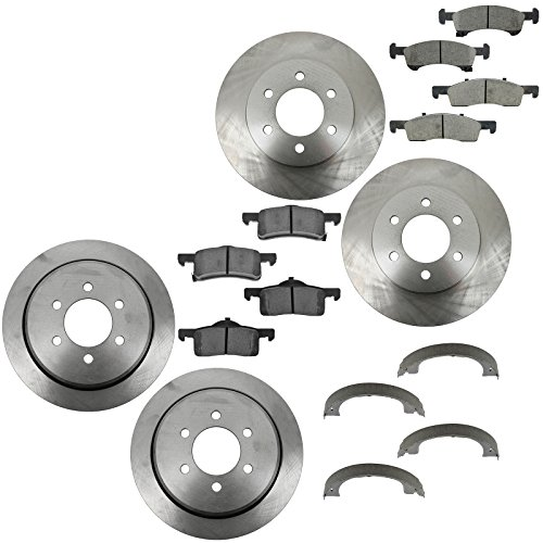 Front Rear Posi Ceramic Disc Brake Pads & Rotors with Parking Shoes for Ford SUV