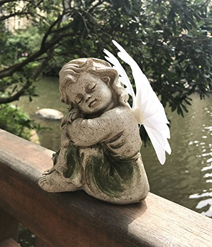 Bo-Toys Solar Powered Angel with Solar Fiber Optic Wings LED Garden Light Decor