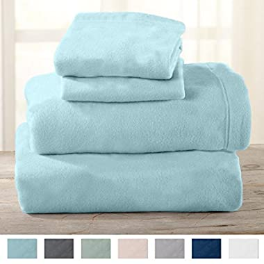 Home Fashion Designs Maya Collection Super Soft Extra Plush Polar Fleece Sheet Set. Cozy, Warm, Durable, Smooth, Breathable Winter Sheets in Solid Colors. By Brand. (Queen, Cloud Blue)