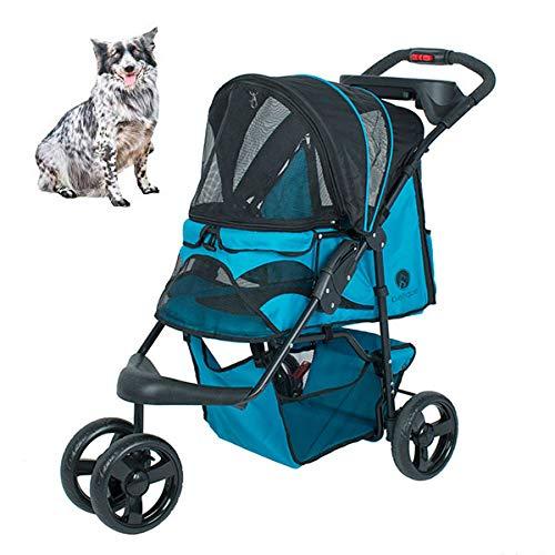Petique 3輪ペットカート [ 折り畳み式/カラー : Mermaid / 耐荷重27kg ] 多頭用 水色 子型犬 2頭 中型犬 1頭 欧米ブランド
