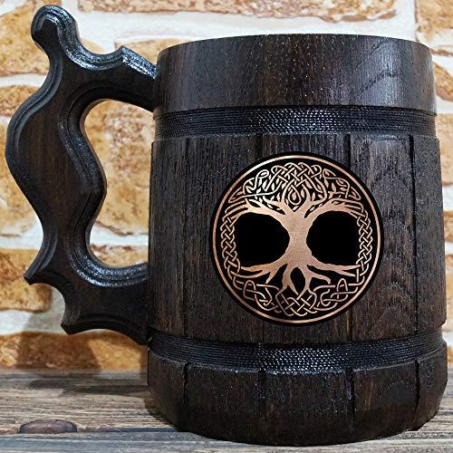 Celtic Tree Of Life Beer Mug, Crann Bethadh Gift, Personalized Mug, Engraved Stein, Gift For Husband, Beer Tankard, Custom Gift for Him