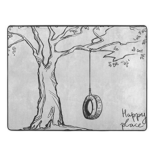 Tree Area Rug, Tree with a Tire Swing Illustration Happy Place Summer Childhood Holidays Garden, 5' x 7' Protection and Cushion for Area Rugs and Floors, Black White