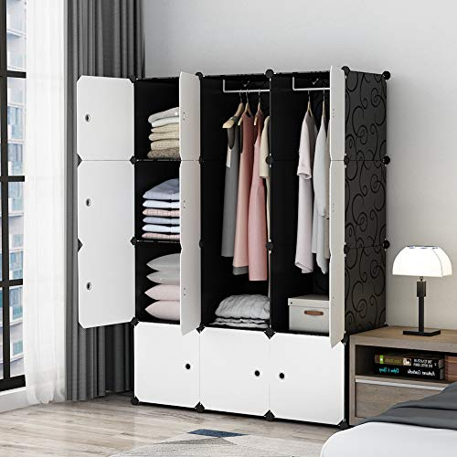 MAGINELS Portable Closet Clothes Wardrobe Bedroom Armoire Storage Organizer with White Doors- 14'x18' Cube, Capacious & Sturdy, Black, 30% Deeper Cube, 6 Cubes+2 Hanging Sections