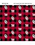 University of Oklahoma Fleece Blanket Fabric-OU Sooners Fleece Fabric with Buffalo Plaid Design