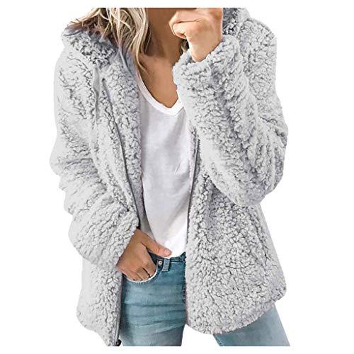 MRULIC Damen Baggy Warme Jacke Winter Wolle Strickpullover Jacke Fleecejacke Softshelljacke Kurzmantel Warme Damen Designer Winterjacke