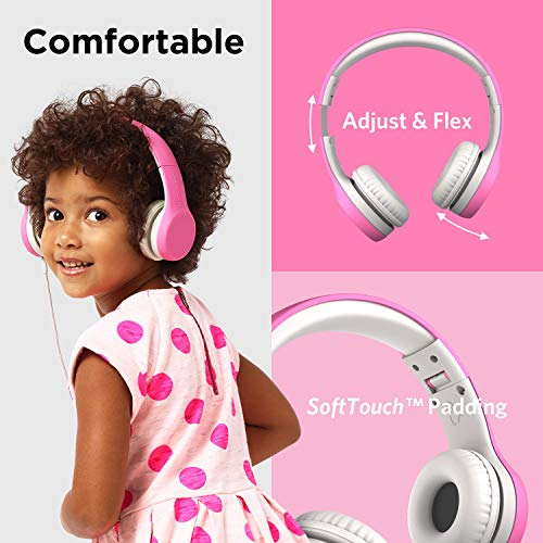 LilGadgets Connect+ Kids Premium Volume Limited Wired Headphones with SharePort and Inline Microphone (Children, Toddlers) - Pink