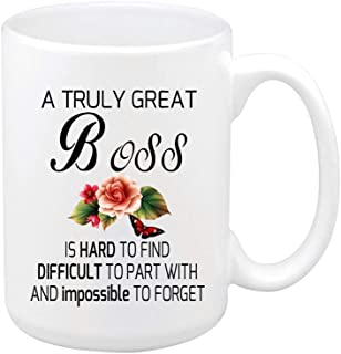 Floral Quotes Mug A Truly Great BOSS is Hard to FIND Difficult to. Coffee Mug Tea Mug Best Gift Mugs 11 Ounce Big Ceramic White