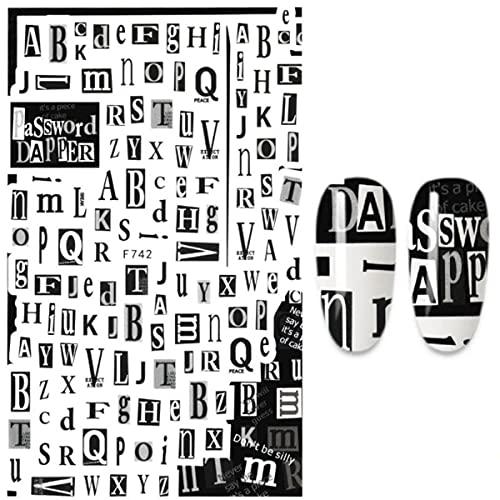 Etiqueta engomada del clavo Palabras en inglés Letras Diseño de frases Decoraciones artísticas para uñas Diseñador de manicura F555-A140774