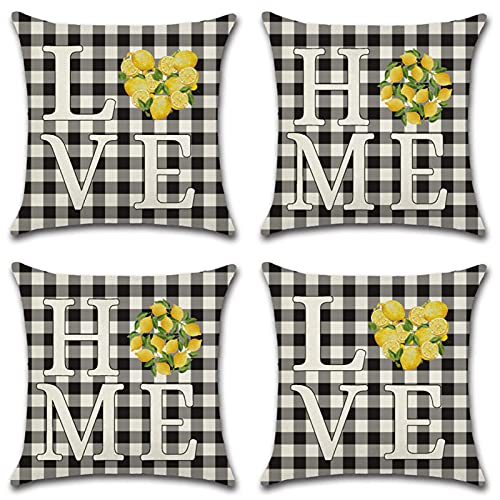 KaiXINSun Throw Pillow Cases Pack of 4 18X18 Inch Pillowcase Decorative Square House Sofa Cover Invisible Zipper 45X45Cm Checkered Letters Lemon Pattern