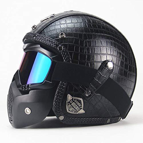 Casco de motocross con máscara desmontable para gafas, casco moto vintage resistente...
