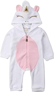 Newborn Baby Girls 3D Unicorn Angel Wings Hooded Zipper Romper Jumpsuit Outfits Clothes Halloween Autumn Winter Clothing