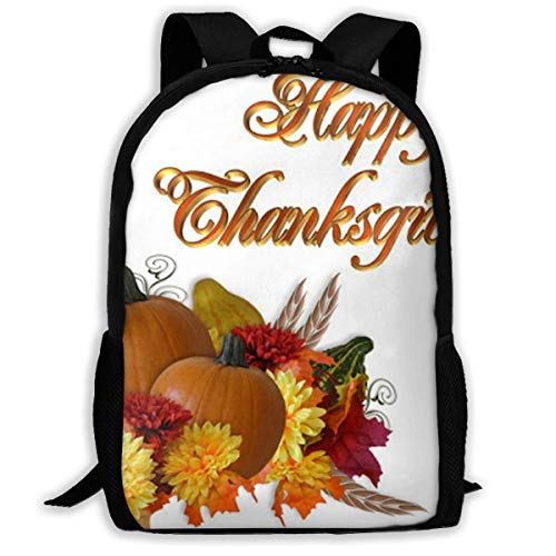 XCNGG Thanksgiving Printed Travel Backpack,Waterproof Lightweight Laptopbag Have Two Side Pockets