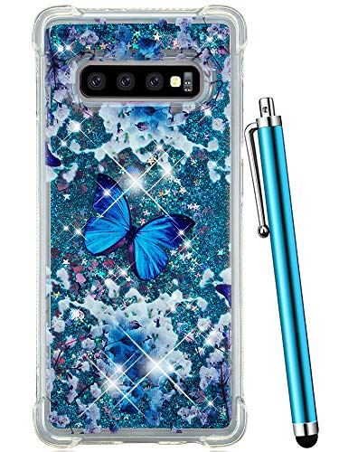 CAIYUNL Case for Samsung Galaxy S10 Plus Glitter Bling Liquid Sparkle Quicksand Flowing Luxury Women Girl Shockproof Protective Slim Clear Cute Phone Cover for Galaxy S10+ Plus[Not S10]-Blue Butterfly