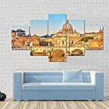NNNLX Lienzo 5 Piezas Moderno, Ver en el Tíber y San Pedro, el Vaticano, Roma, Italia,Impresiones En Lienzo, Salon Grandes Cuadros para Dormitorios Modernos Mural Pared Listo para Colgar