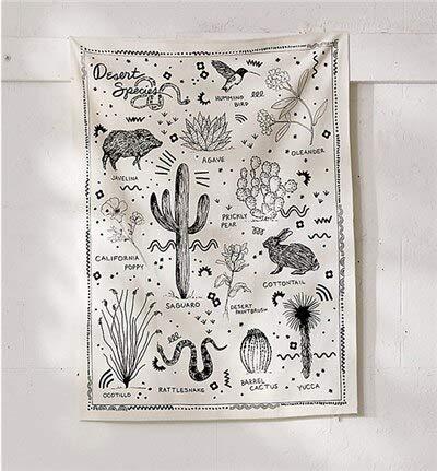 N / A Tapiz Saguaro Hippie, Tela para Colgar en la Pared, decoración Boho, tapices de Tela para Pared, Alfombra de Pared, Tapiz de gobelino, A1 150 cm x 130 cm