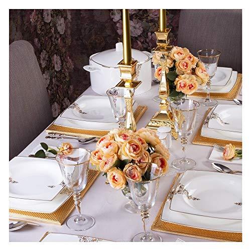 Tac Elegance | Lace Bone | 85 Teilig | Tafelservice | Teller-Set | Esservice | Tafel-Set | Porzellan | Weiß & Gold | Karo | 12 Personen | Hochzeit | Verlobung | Geburtstag | Feier | Tac-1467