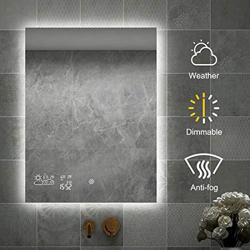 byecold Dimmbar Badspiegel mit LED Beleuchtung Wandspiegel Badezimmerspiegel Lichtspiegel Bad Spiegel Touch Schalter Smart WiFi Antibeschlag Wetter Datum Temperatur Luftfeuchtigkeit-Vertikal 60x80CM