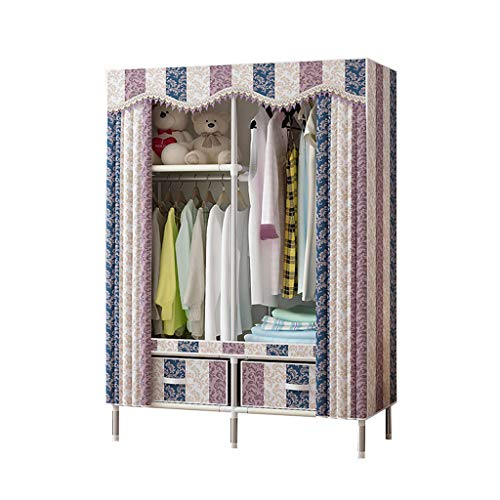 DIY Portable Clothes Closet Wardrobe, Non-Woven Fabric Clothes Storage Organizer, Freestanding Wardrobe Armoire with Hanging Rods and Clothes Shelves, Easy to Assemble