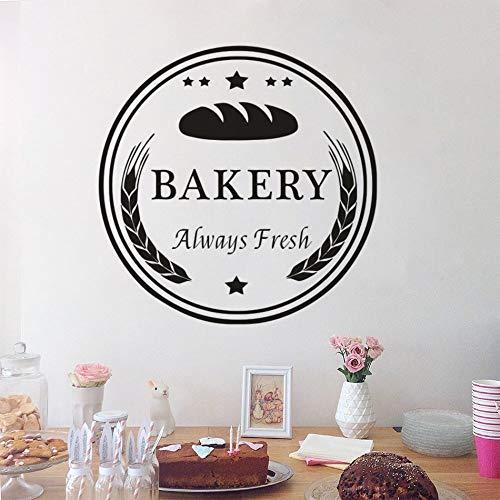Bäckerei Logo Fenster Wandtattoo Kuchen und Bäckerei Dekoration frisch gebackenes Brot Wandtattoo Restaurant Vinyl Dekoration Wandbild andere Farbe 57x57cm