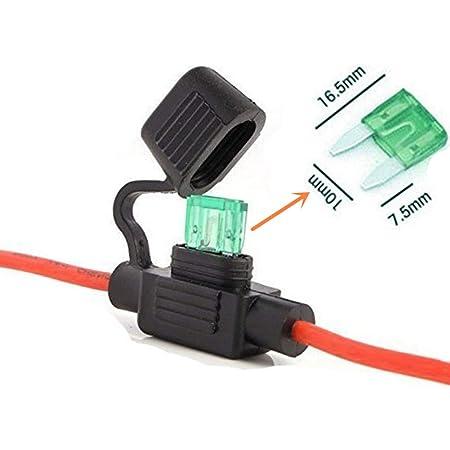 Qiorange Sicherungshalter Kfz Lkw Flachsicherung Sicherung Halter Wasserdicht 30a Inkl 30a Sicherung 26 Cm Kabel 1 Set Auto