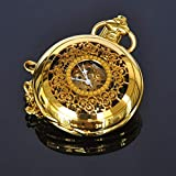 J-Love Reloj de Bolsillo mecánico Manual de Oro Retro para Hombres, Reloj mecánico para Hombres con Estilo abatible y Hueco Trasero