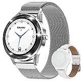 Smartwatches für Damen, IP67 wasserdichte Fitness-Uhr, 2,8 cm (1,1 Zoll) voller Touchscreen, Aktivitätstracker, Schlaf-Herzfrequenz-Monitor, Schrittzähler mit zwei Uhrenarmbändern, Silber