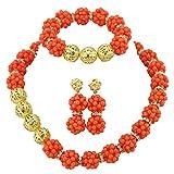 AfricanBeads 1fila color naranja coral declaración boda novia joyería Set, Coral de cuentas africanos conjunto de collar