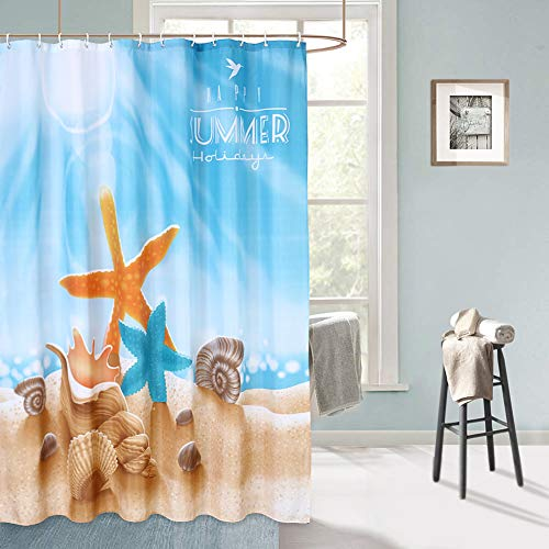 Fabric Shower Curtain Bathroom Waterproof Beach Ocean Decor Starfish Bath Hooks