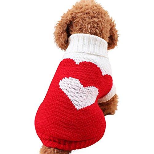 Culater® Piccoli Vestiti del Cane Pet Dogs Cat Maglieria Maglione del Cane Puppy Cappotto Caldo Abbigliamento A Buon Mercato per I Cani Inverno Doggy Costume (XS, Rosso)